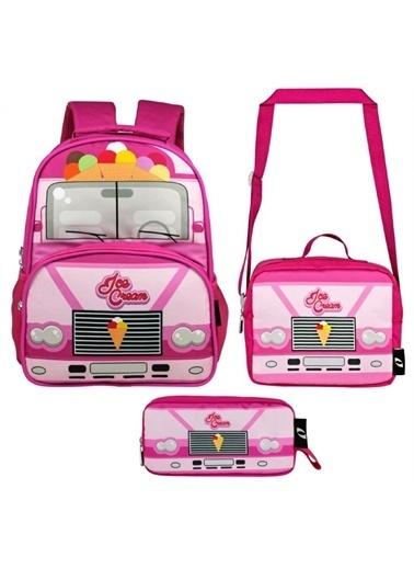Ümit Çanta Cennec İce Cream Baskılı Kız Çocuk Okul ve Günlük Sırt Çanta Seti Renkli